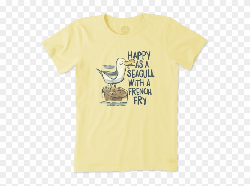 Women's Happy As A Seagull Crusher Tee - Life Is Good Clipart #3380277