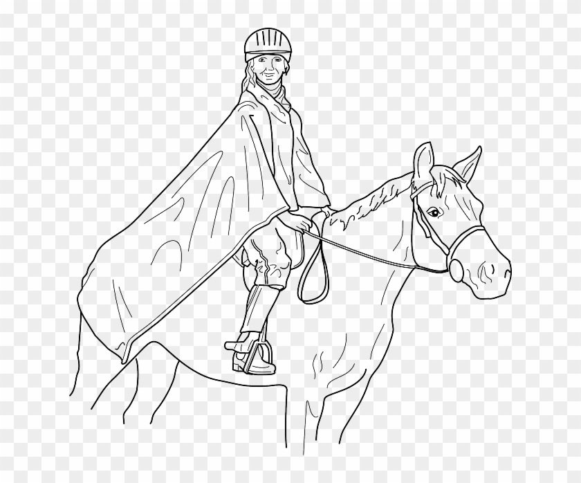 Outline, Man, Cartoon, Horse, Horses, Draw, Animal - Horse With Rider Coloring Pages Clipart #3380300