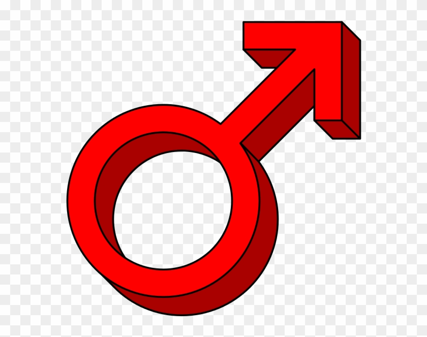 Mars Male Symbol Pseudo 3d Red - Male Symbol Red Clipart #349468