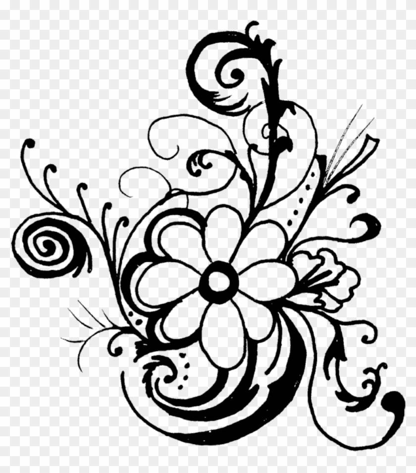 #filligree #swirls #decoration #illustration #flowers - Flowers Clip Art Black And White Border - Png Download #3404680