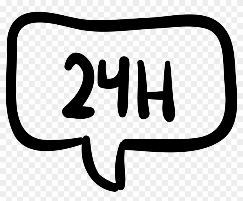 24 Hours In Speech Bubble Hand Drawn Commercial Signal - Icon Clipart #3408006