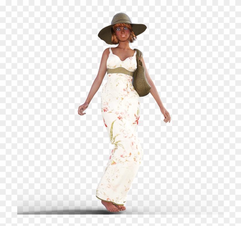 Woman Summer Dress Hat Girl Bag Flowers - Girl Summer Png Clipart #3414660