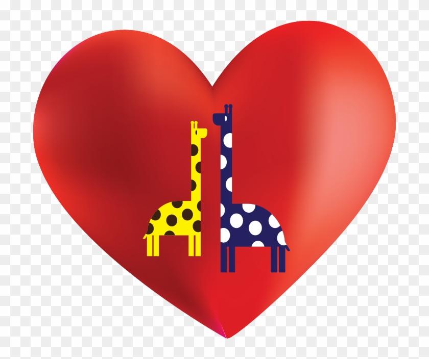 Giraffe And Heart Background - Heart Clipart #3419697
