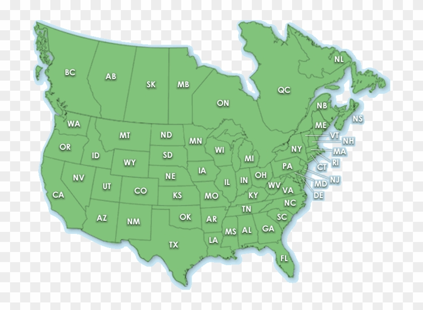 Great Map Of All Areas Of North America Including Central - Us And Canada Map Png Clipart #3428878