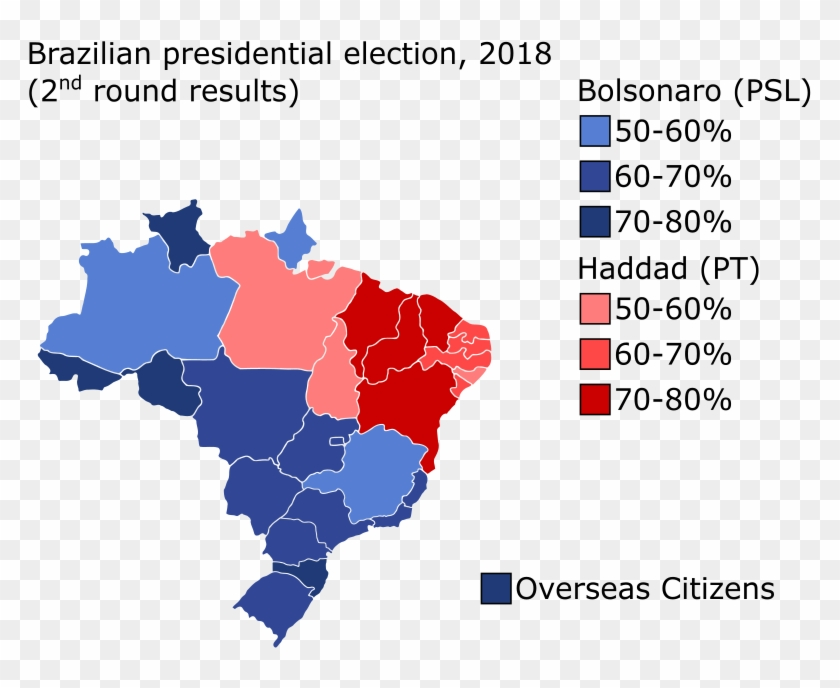 Map Of Results For Each State And The Federal District - Brazil Elections Map 2018 Clipart #3468274
