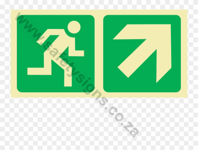 Running Man & Diagonal Arrow Up & Right Photoluminescent - Traffic Sign Clipart #3474973
