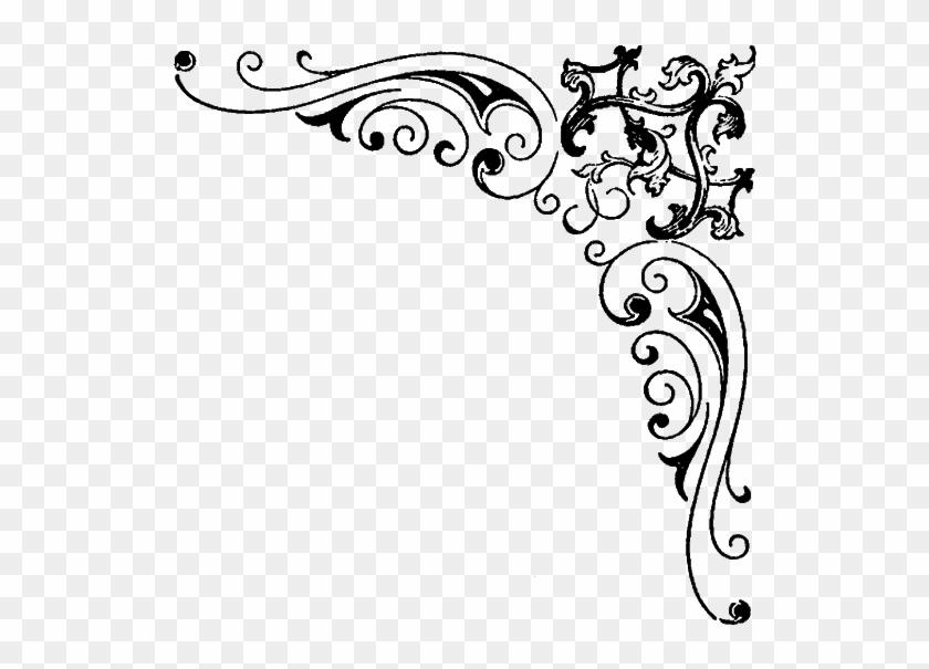Digital Stamp Design Flourish - Fancy Corner Borders Png Clipart #3490893