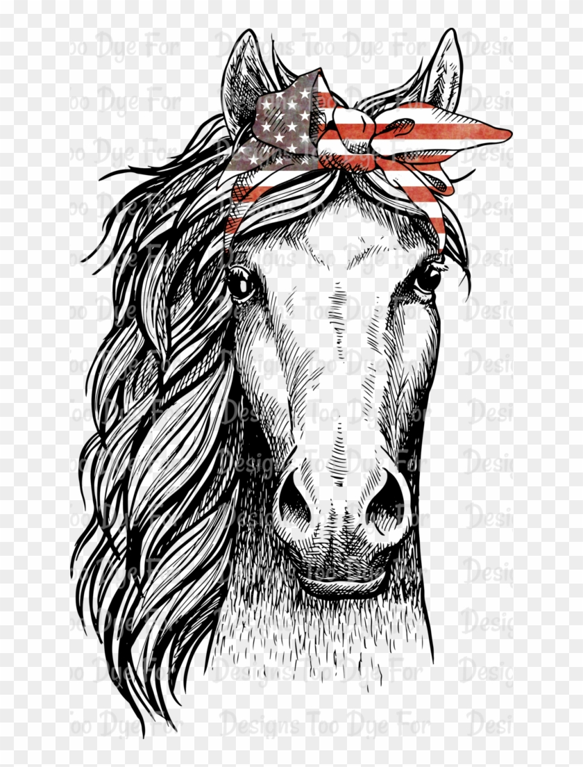 Drawing Bandana Face Horse Head Front View Clipart 3491417 Pikpng