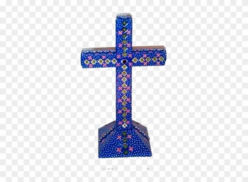Cruz Azul Con Cuchis Y Flores - Cross Clipart #3492647