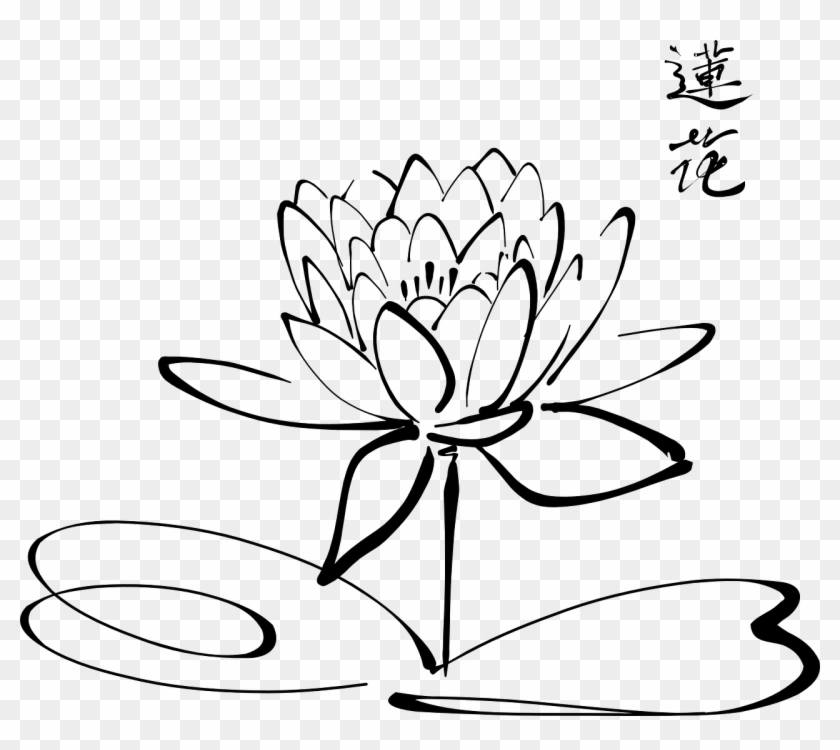 Lotus Flower Calligraphy , Flowers Outline, HD Png Download