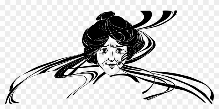 Woman Computer Icons Line Art Black And White Visual - Creepy Old Lady Clip Art - Png Download #3499915