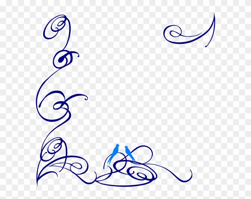 Decorative Swirl Blue Bird Clip Art At Clker Com Vector - Swirl Clip Art Png Transparent Png #353347