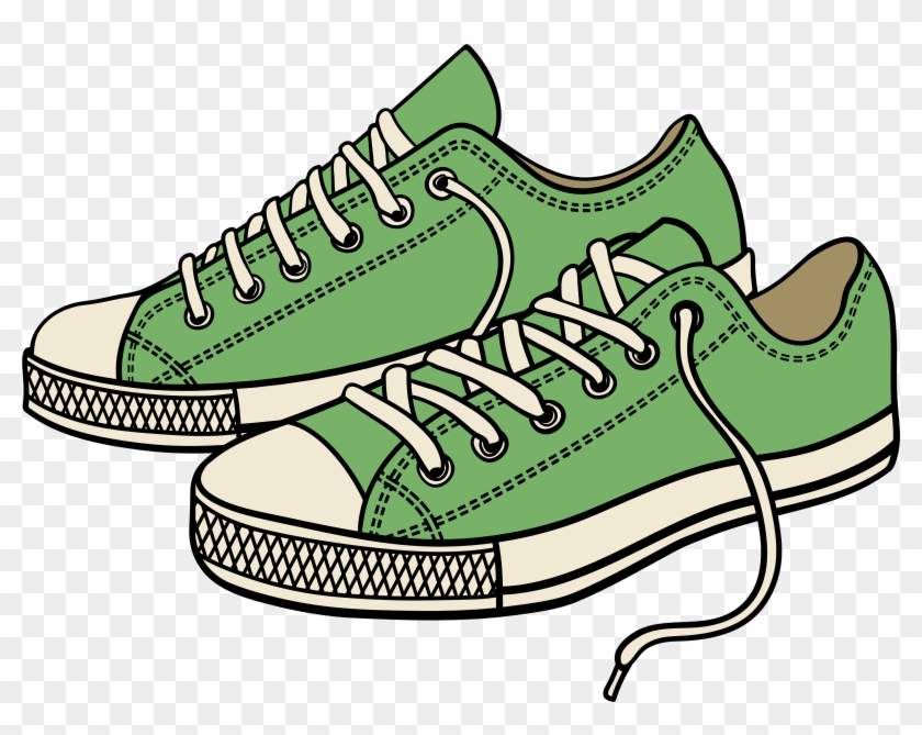 Green Sneakers Png Clipart - Cartoon Pair Of Shoes Transparent Png #356921