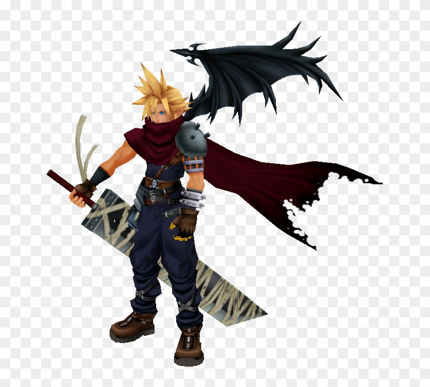 The Demon Like Design Of Cloud Is Read Eh For Some - Cloud Kingdom Hearts 1 Design Clipart #3519775