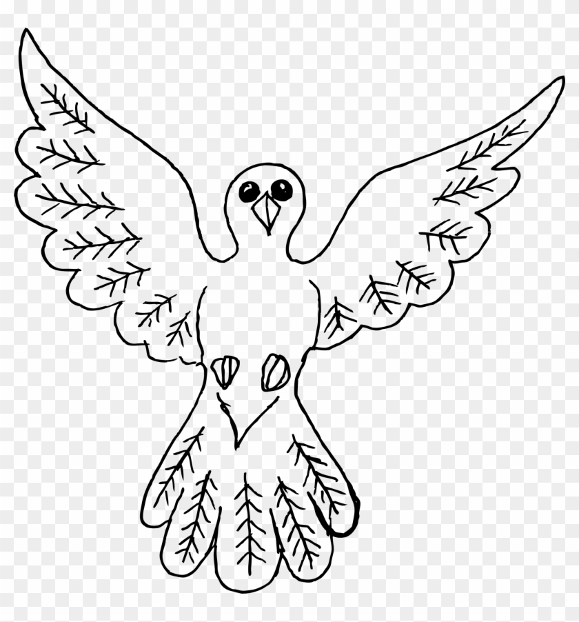 Clipart Dove Bird Outline - Simple Outline Drawing Of A Bird - Png Download #3536643