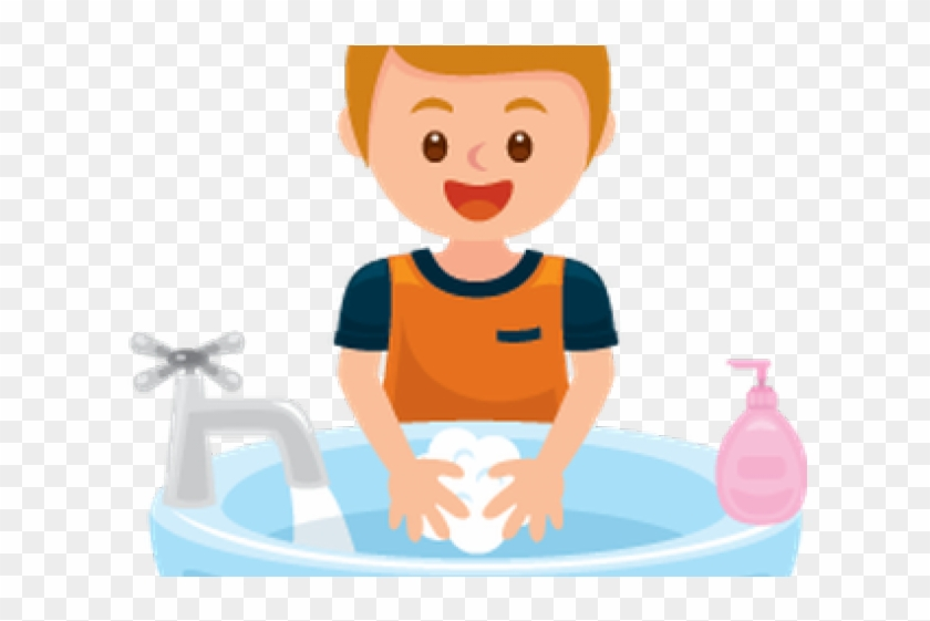 Wash Hands Clipart - Boy Washing Hands Cartoon - Png Download #3548449