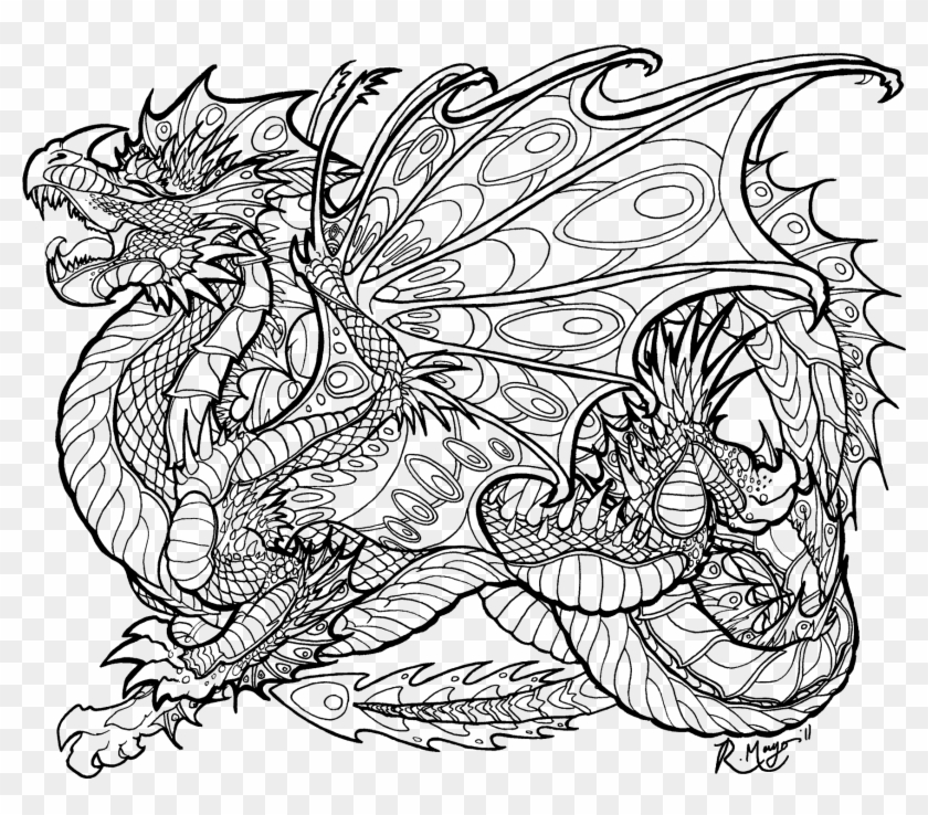 Mythical Dragon Dragon Coloring Pages Clipart (#3550858) - PikPng