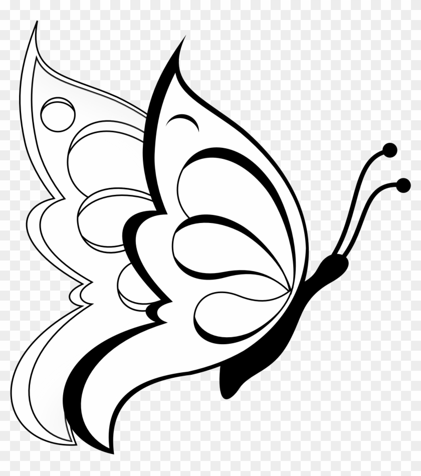 Butterfly 19 Black White Line Art Flower 999px 144 Simple Drawing Of Butterfly Clipart 360885 Pikpng