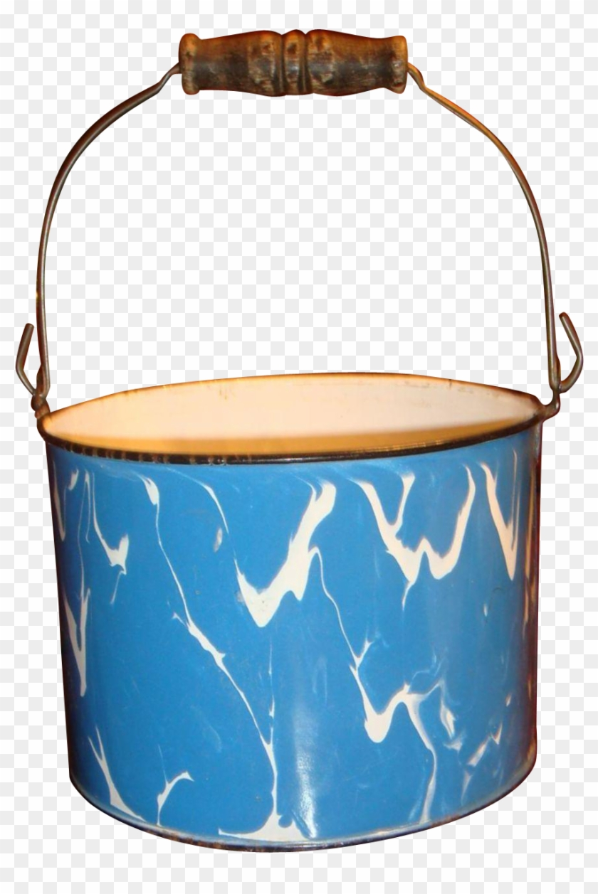 Large Blue White Swirl Graniteware Bucket Wooden Bale - Fictional Character Clipart #365315