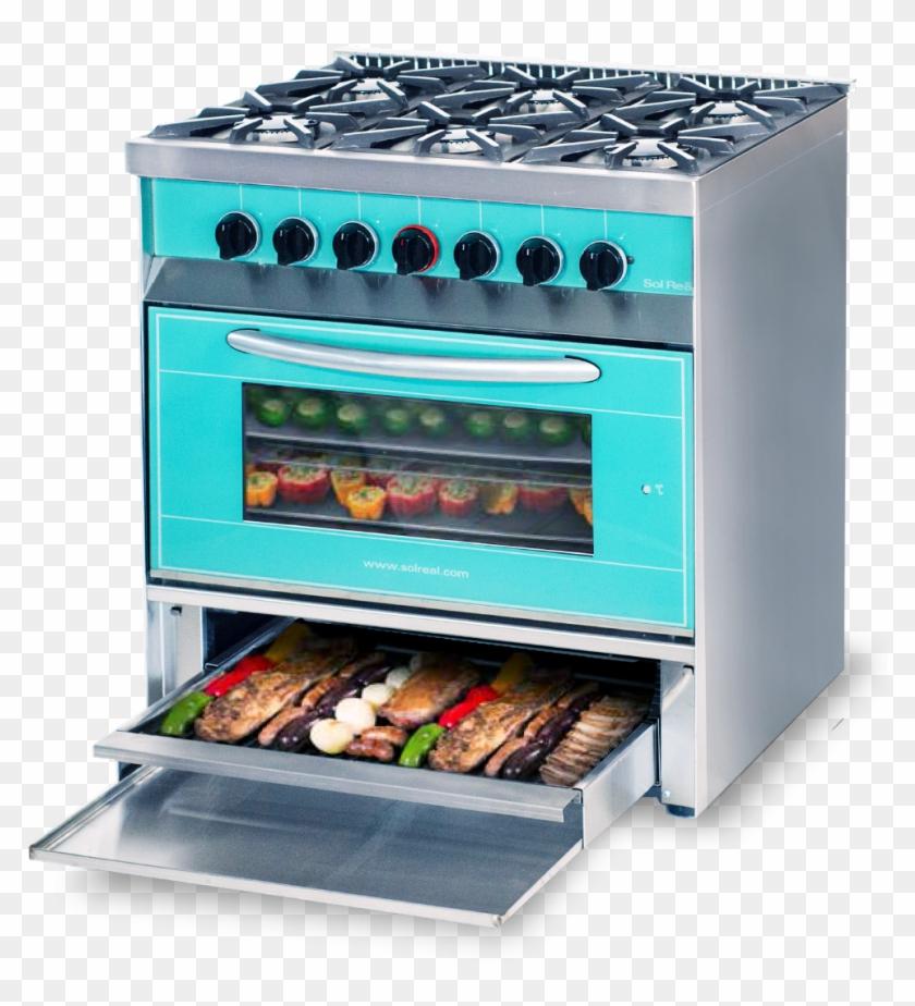 Cocina Mini Color 6 Hornallas Con Parrilla Sin Humo - Cocina Con Hornallas De Vidrio Clipart #3638635