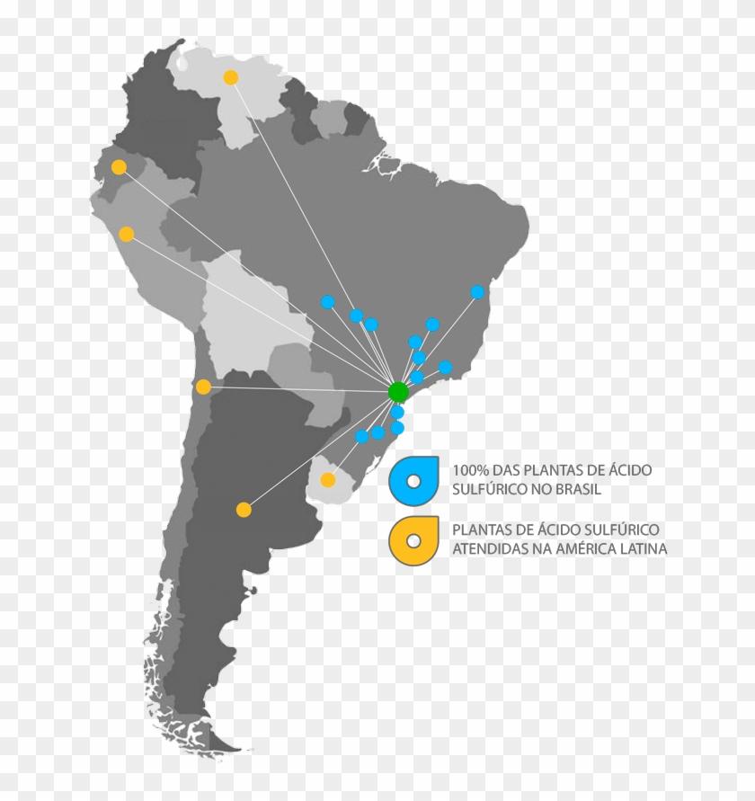 Ácido Sulfúrico No - Map Of Latin America Political Clipart #3639665