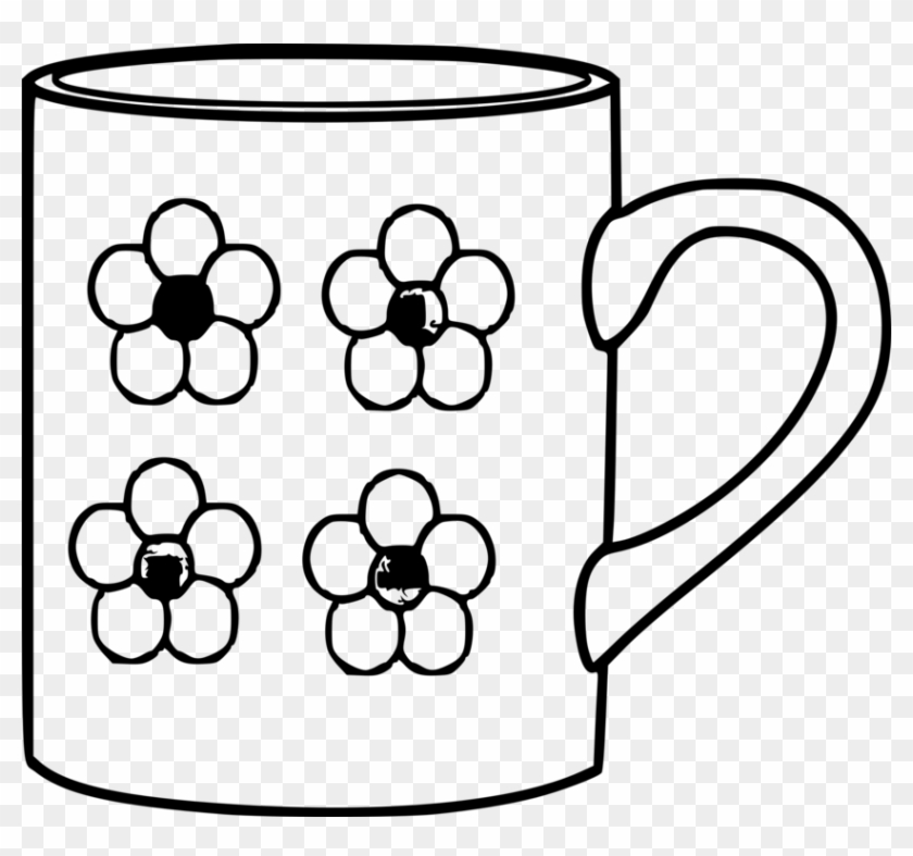 Mug Table-glass Coffee Cup Saucer - Mug Clipart Black And White Png Transparent Png #3644655