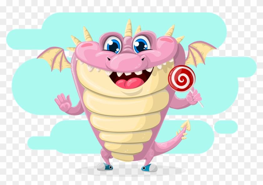 Dragon Cute Pink Lollipop Wing Tale Fairy - Kids Premium T Clipart #3653078