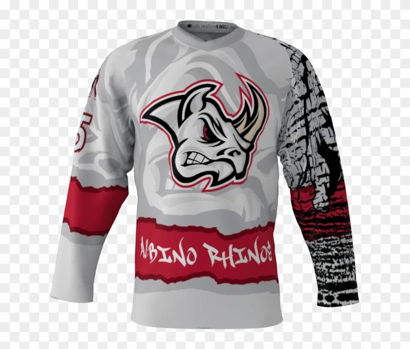 Albino Rhinos Custom Roller Hockey Jersey - Long-sleeved T-shirt Clipart #3663787