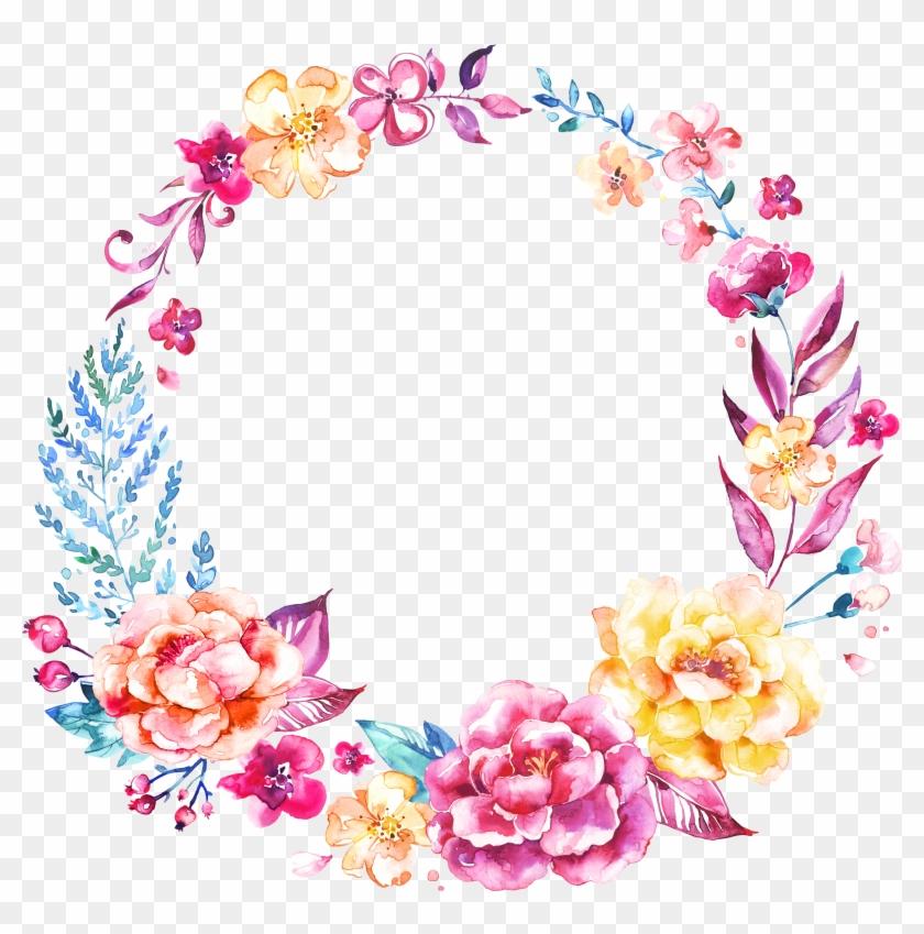 Invitation Logo Flower - Corona De Flores En Acuarela Clipart #3673139