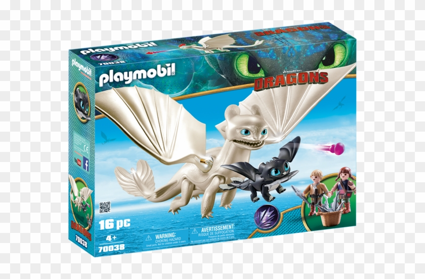 Light Fury With Baby Dragon And Children - Playmobil How To Train Your Dragon Clipart #3681921