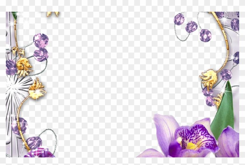 Purple Flower Borders And Frames Purple Flowers Golden - Borders And Frames Flowers Clipart #3683230
