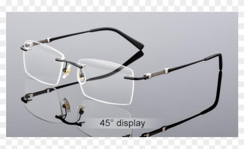 Gray Men's Rimless Glasses Frame - Glasses Clipart #3688929