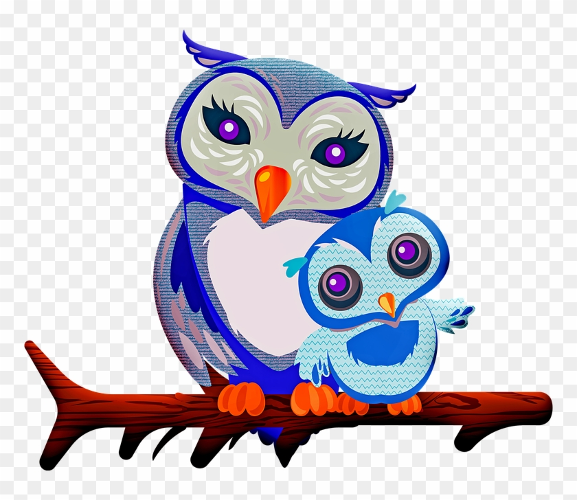 Owl Mother Owl Baby Owl Nature Mother Family - Mother Baby Owl Clipart #3699567