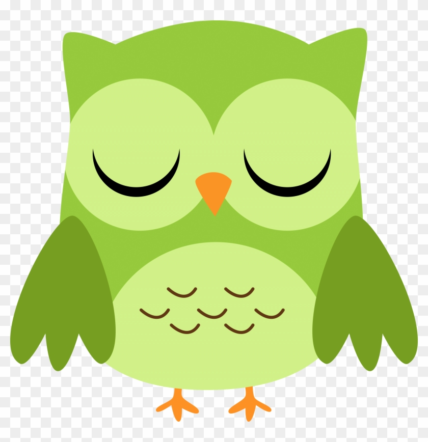 Green Owl Cliparts - Cartoon Owl Eyes Closed - Png Download #3710451
