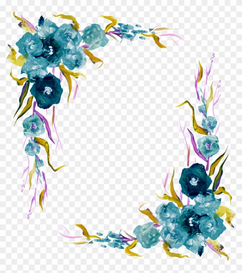 vintage elements vector png border blue watercolor flowers png clipart 3715136 pikpng vintage elements vector png border