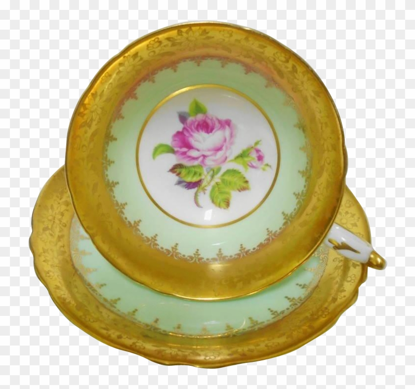 Paragon Fancy Gold Etch Border Pink Rose Center Tea - Rosa Dumalis Clipart #3717130