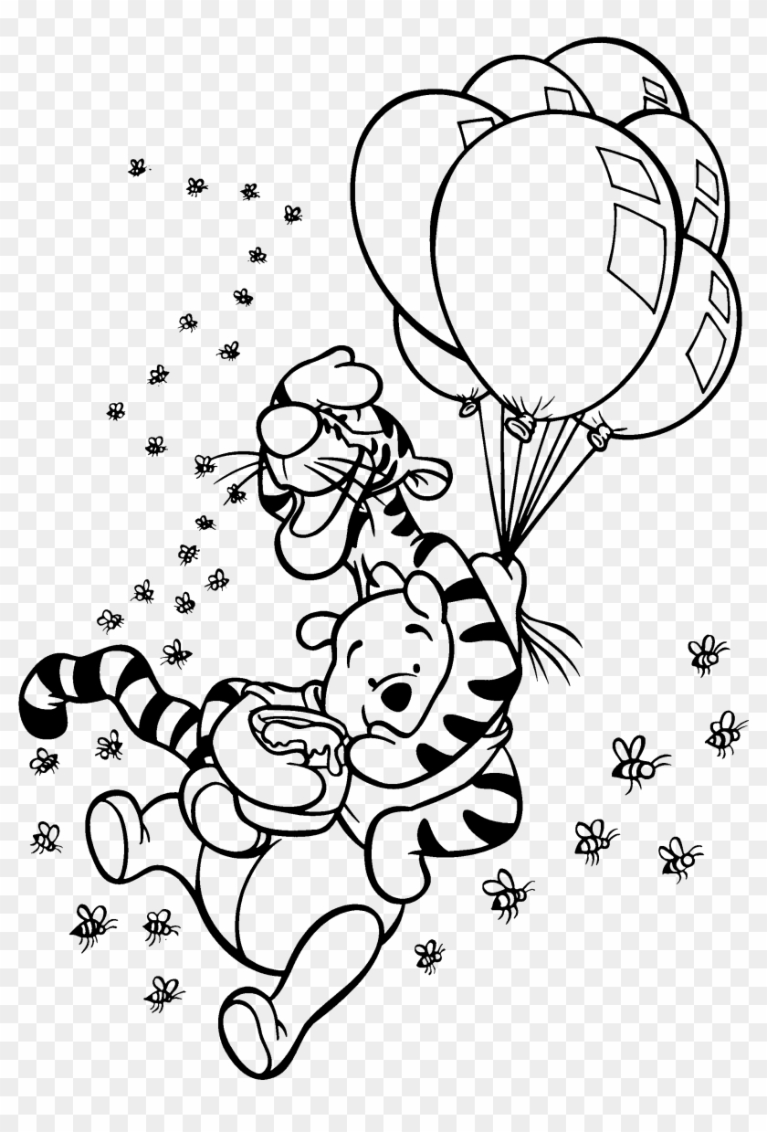 Baby Winnie The Pooh And Friends Coloring Pages Az Winnie The Pooh And Tigger Balloons Clipart 3717320 Pikpng
