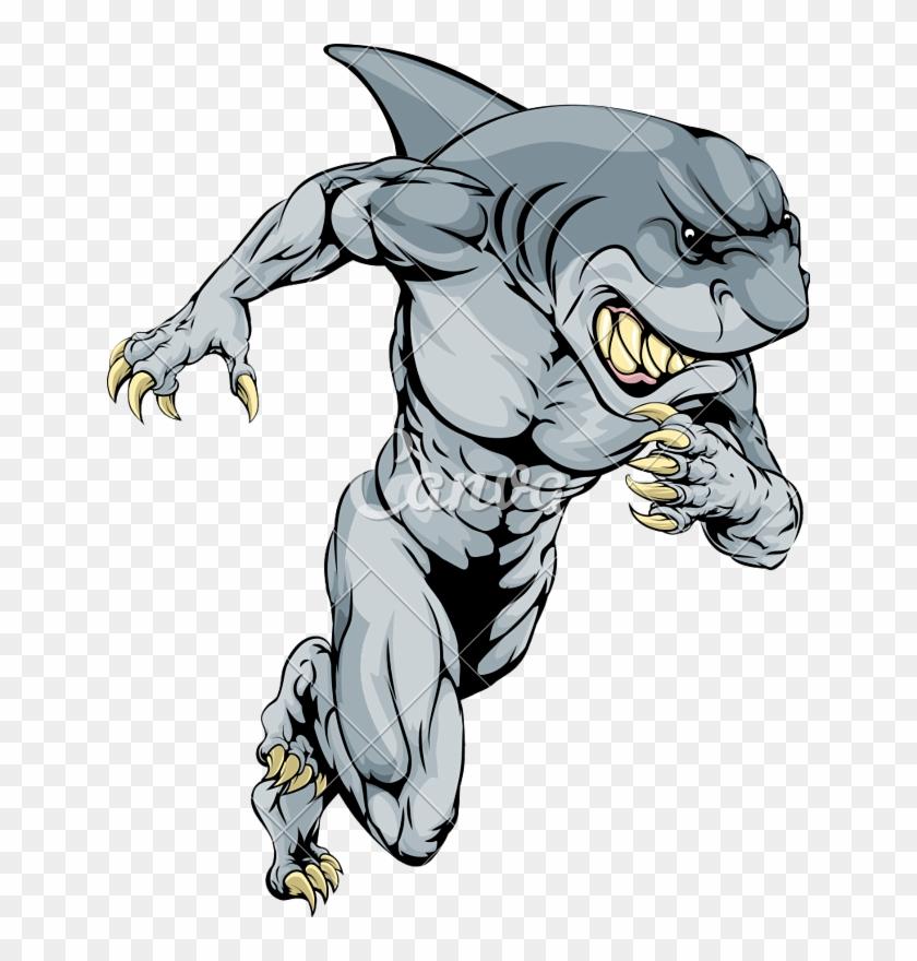 Mascot Drawing Shark - Shark Man Coloring Pages Clipart #3744150
