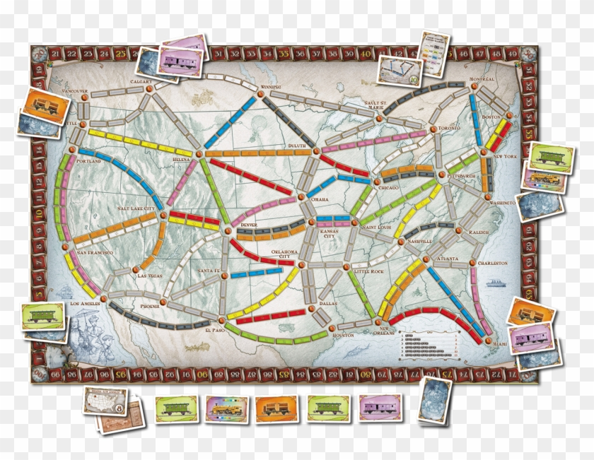 Original1500 X - Ticket To Ride Map Us Clipart #3754669