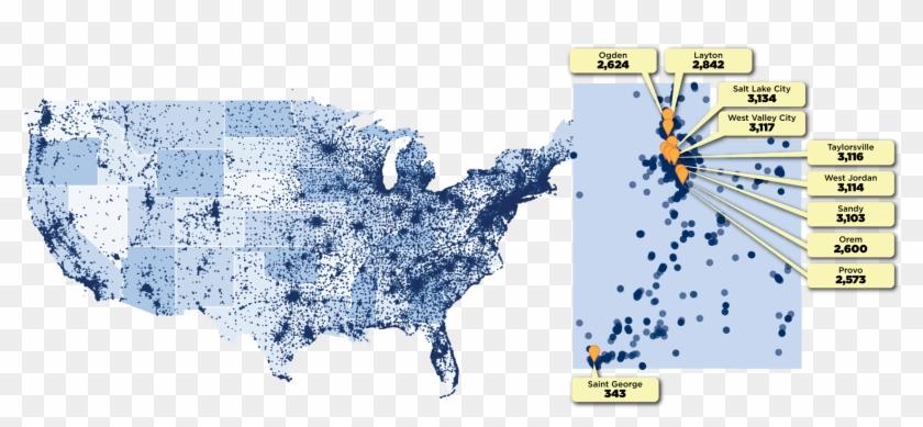 Utah And Us Map Small - Dot Map Clipart #3754674