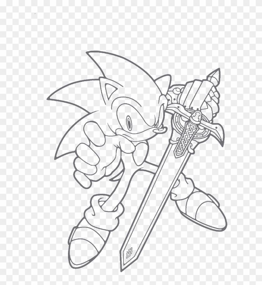 Sonic With Sword Coloring Pages Clipart 3789134 Pikpng