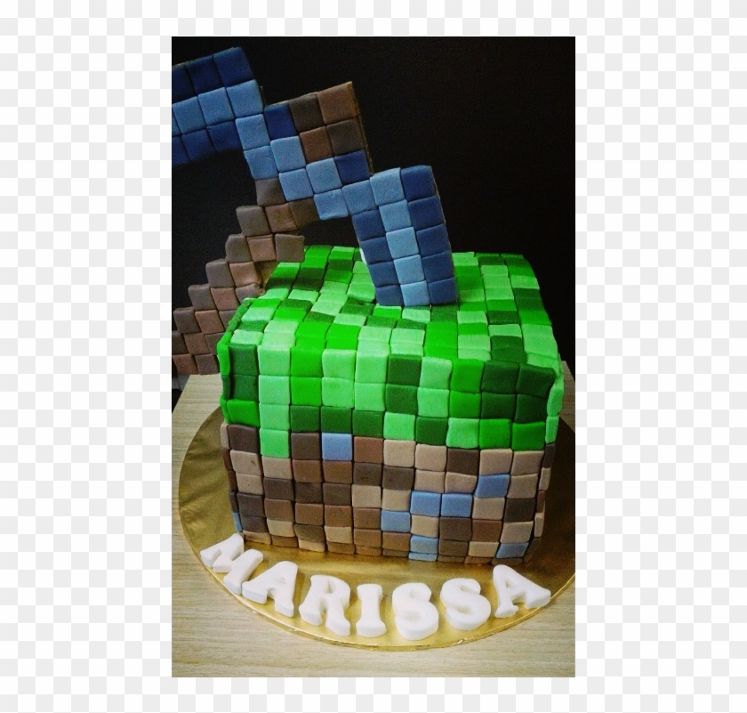 Pickaxe And Grass Block Combination Minecraft Cake - Minecraft Cake Pink Design Clipart #384042