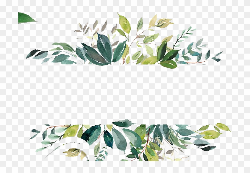Wedding Flowers Png - Watercolor Leaves Border Png, Transparent Png #385234
