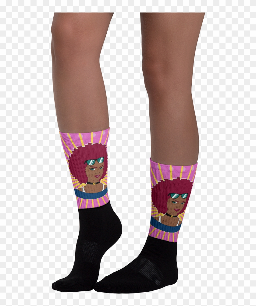 Chocolate Ancestor, Llc- Burgundy Afro Diva Pink Starburst - Sock Clipart #3802425