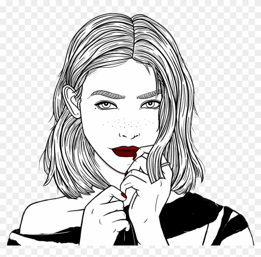 Outlines Chica Tumblr Linda Dibujo Negro Cute Blanco - Teenage ...