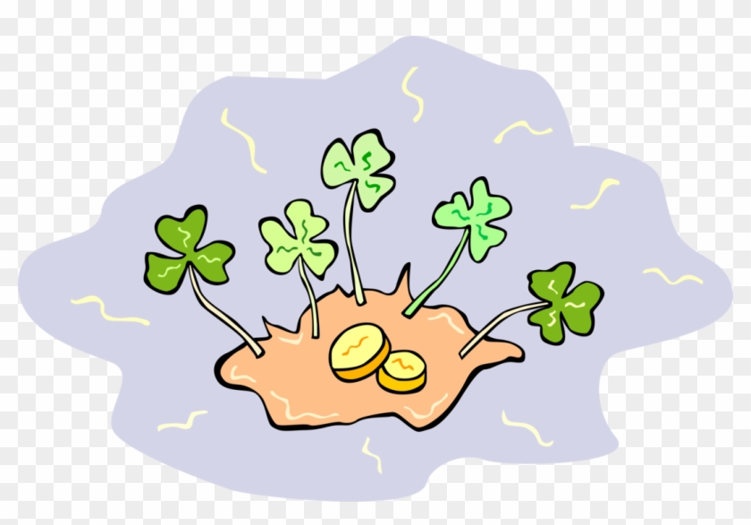 Vector Illustration Of St Patrick's Day Four-leaf Clover Clipart #3839059