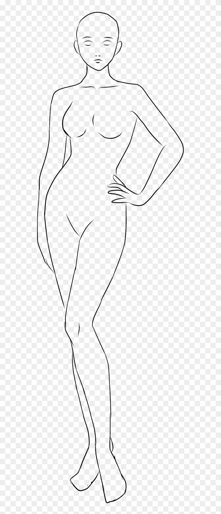 Anime Drawing Base Female Anime Collection - Female Human Base Drawing Clipart #3840847