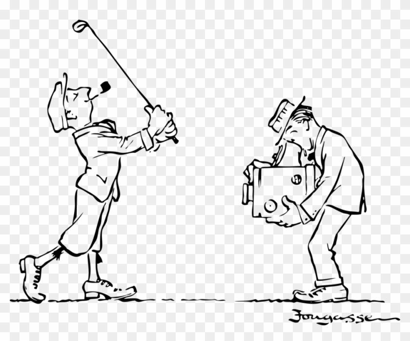 Golfer Clipart Golf Ball Club - Black And White Golf Set Cartoon - Png Download #3870267
