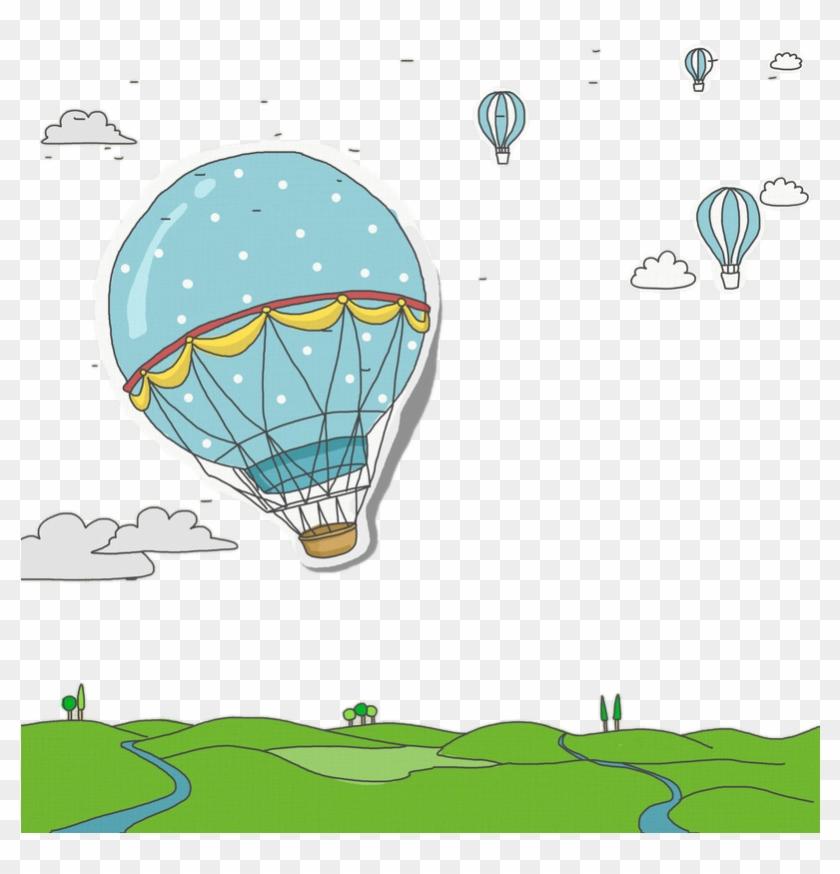 Drawn Hot Air Balloon Sky Drawing Ar Quente Desenho Balao