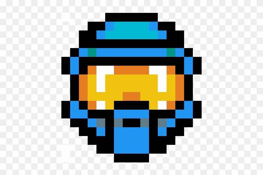 Halo Spartan Mask Blue Master Chief Helmet Pixel Art